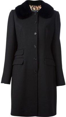 Dolce & Gabbana fur collar overcoat