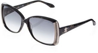 Roberto Cavalli Alloro Metal-Side Square Sunglasses, Brown Melange