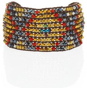 Nakamol Beaded Tribal Cuff, Red/Blue (CUSP Top Seller!)