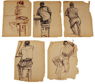 STUDY Billy Cotton Charcoal Study, Drinkers, Set of 5, I