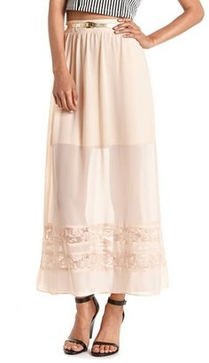 Charlotte Russe Belted Lace Inset Maxi Skirt