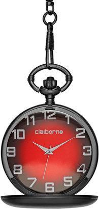 Claiborne Mens Gunmetal Pocket Watch