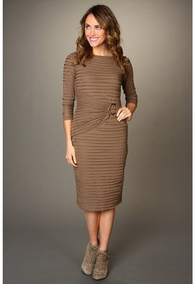 London Times 3/4 Sleeve Tiered Dress w/Attached Belt (Taupe) - Apparel