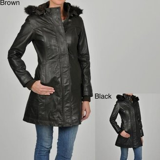 Knoles & Carter Women's 7/8-length Faux Fur Trimmed Hooded Leather Jacket $139.99 thestylecure.com
