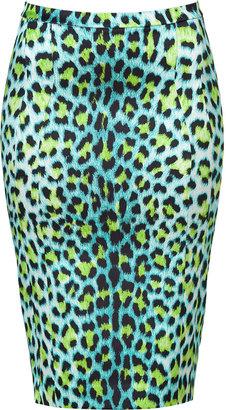 Just Cavalli Turquoise/Black Leopard Print Pencil Skirt