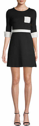 French Connection Three-Quarter-Sleeve Colourblock Fitted Dress