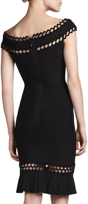 Herve Leger Cutout-Trim Off-Shoulder Bandage Dress