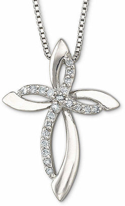 Silver Cross Fine Jewelry 1/10 CT. T.W. Diamond Sterling Pendant Necklace