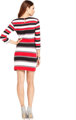 French Connection Dress, Three-Quarter High-Neck Striped Mini