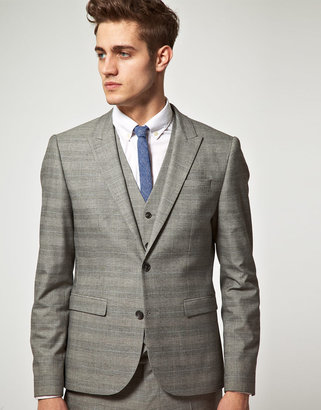 Asos Slim Fit Check Suit Jacket in Gray