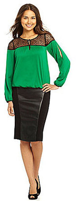 XOXO Ponte Faux-Leather Pencil Skirt