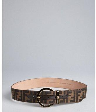 Fendi brown zucca canvas round buckle belt