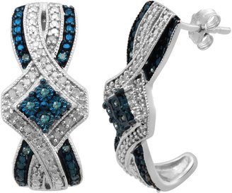 JCPenney FINE JEWELRY 1/5 CT. T.W. Genuine White & Color-Enhanced Blue Diamond Earrings