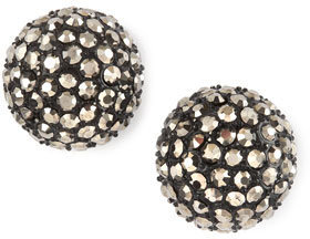 Guinevere & Co Pave Ball Stud Earrings, Silvertone