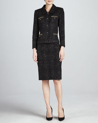 Tahari Tweed Skirt Suit, Black/Gold