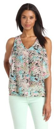 Chaus Women's Sleeveless Layered Multi Floral Top