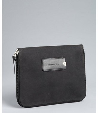 Property Of coal grey waxed canvas and leather accent 'Tosh' zip around tablet pouch