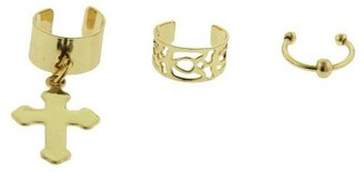 Women's Cuff Earrings with Dangle Cross, Open Filigree and Ball End Hoop - Silver/Gold