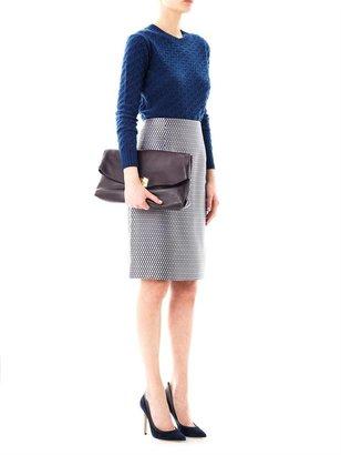 Marc Jacobs Satin fishnet-print pencil skirt