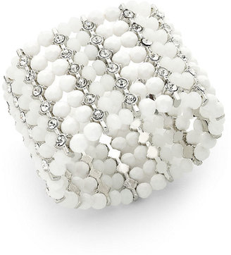 INC International Concepts Bracelet, Silver-Tone White and Crystal Multi-Row Stretch Bracelet