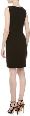 Halston Sleeveless Asymmetric-Fold Sheath Dress, Black