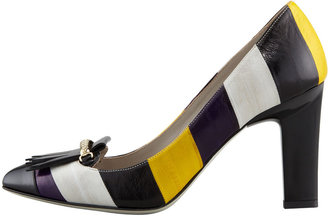 Jason Wu Striped Multicolored Eel-Skin Pump