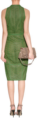 Akris Grass Green Perforated Leather Dress
