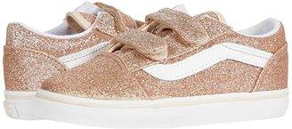 Vans Kids Old Skool V (Infant/Toddler) ((Glitter) Brazilian Sand/True White) Girls Shoes