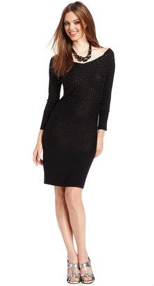 GUESS Dress, Sylvia Three-Quarter Scoop-Neck Sequined