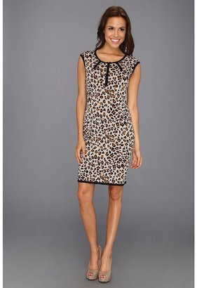 Calvin Klein Cap Sleeve Animal Print Knit Dress (Khaki Multi) - Apparel