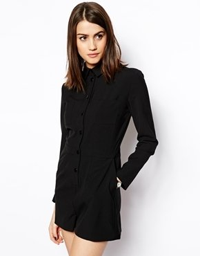 Asos Romper With Shirt Detail - Black