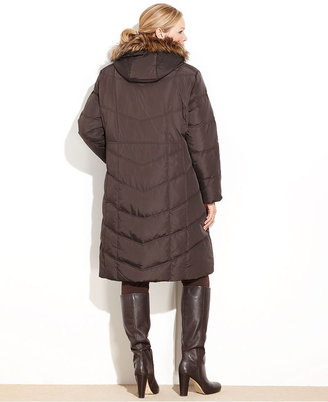 Calvin Klein Plus Size Coat, Faux-Fur-Trim Hooded Puffer