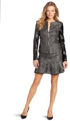 DKNY DKNYC Women's Sparkel Tweed Long Sleeve Jacket