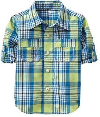Gap Convertible slub plaid shirt