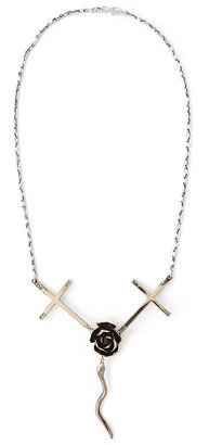 J. Dauphin Necklace Fear Of Love Cross Rose And Snake Necklace