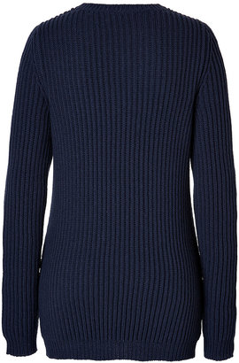 Jil Sander Wool-Cashmere Ribbed Pullover in Navy