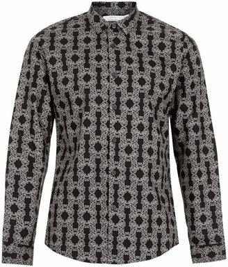Topman Black Foliage Print Smart Long sleeve shirt