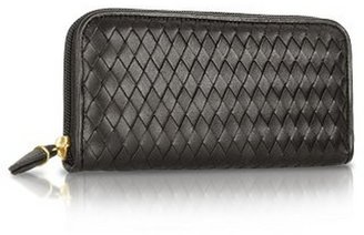 Fontanelli Women's Black Italian Woven Leather Concertina Zip Wallet
