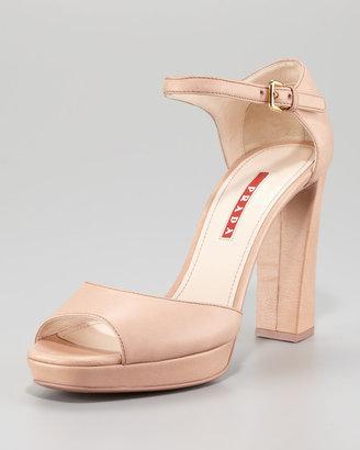 Prada Leather Peep-Toe Ankle-Strap Sandal
