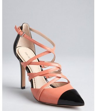 Pour La Victoire pink and black leather and patent point toe 'Colettea' pumps