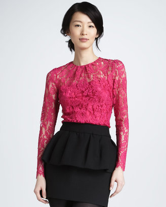 Milly Ivy Sheer-Top Lace Blouse, Fuchsia