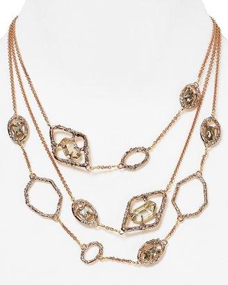 "Alexis Bittar Delano Rose Gold Triple Strand Pyrite Link Necklace, 18"""