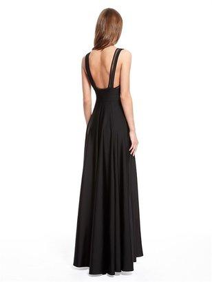 DKNY Runway Jersey Maxi Sleeveless V-Neck Dress With Mesh Inserts