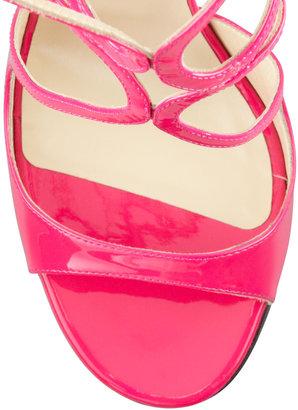 Jimmy Choo Lang Patent Strappy Sandal, Fuchsia