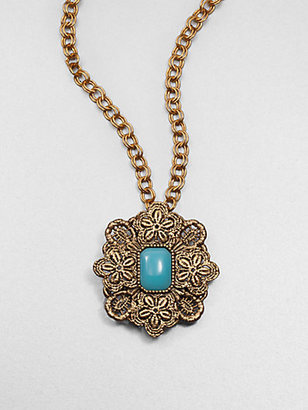 Oscar de la Renta Lace Medallion Pendant Necklace/Brooch