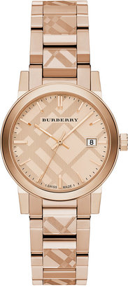 Burberry Women's Swiss Rose Gold Ion-Plated Stainless Steel Bracelet Watch 34mm BU9146 $795 thestylecure.com