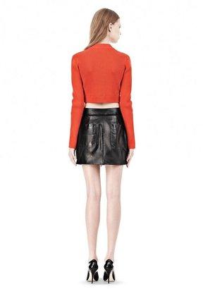 Alexander Wang Cotton Rib Two-Way Zip Cropped Cardigan