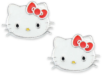 Hello Kitty Earrings, Sterling Silver Stud Earrings