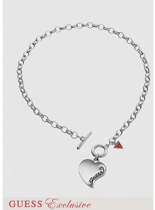 GUESS Simple Heart Charm Necklace