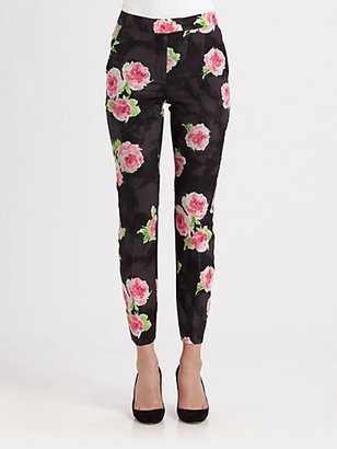Moschino Cheap & Chic Moschino Cheap And Chic Silk Crepe Floral Trousers